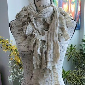 Accessories - beige cream knit frayed distressed scarf